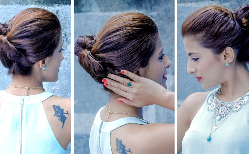 2 Minute Easy Tucked In Bun Updo Updo Hairstyles Glamrs